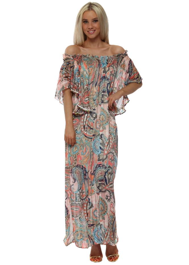 Just M Paris Pink Print Off The Shoulder Maxi Dress