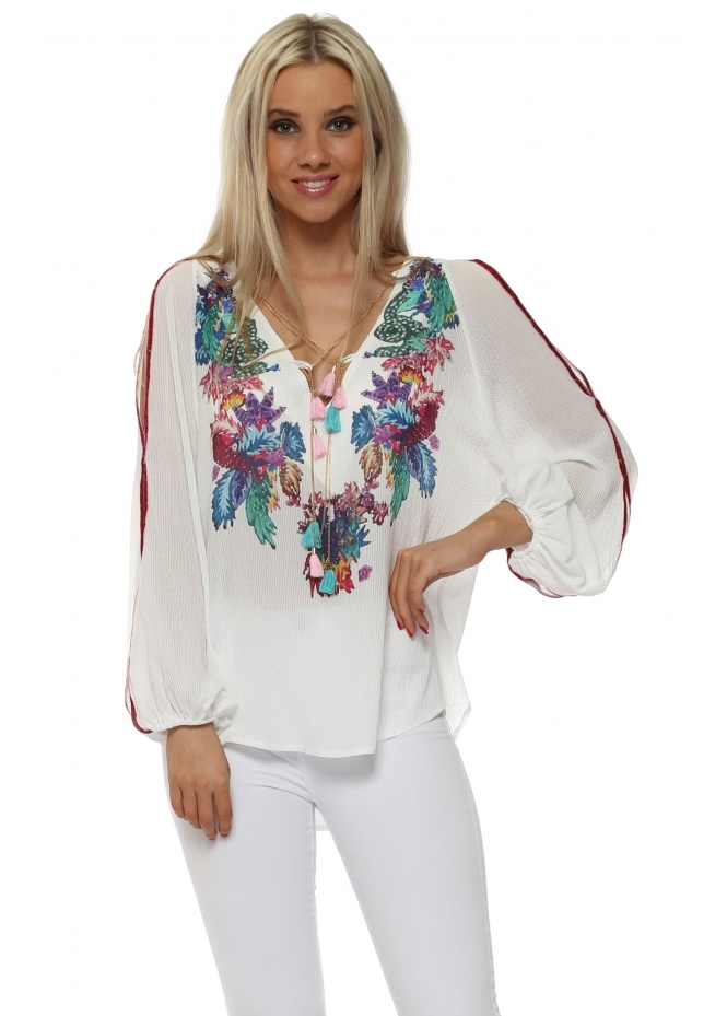 Briefly White Cold Shoulder Top With Gold Chain & Tassels