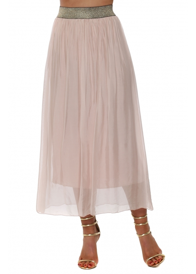 French Boutique Baby Pink Silk Maxi Skirt With Shimmer Waist