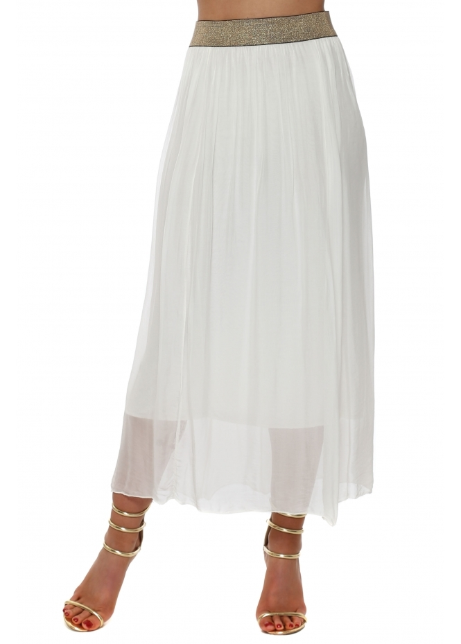 French Boutique Ivory Silk Maxi Skirt With Shimmer Waist