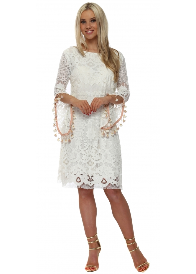 Laurie & Joe Scoop Back Nude Tassels & Chains Dress