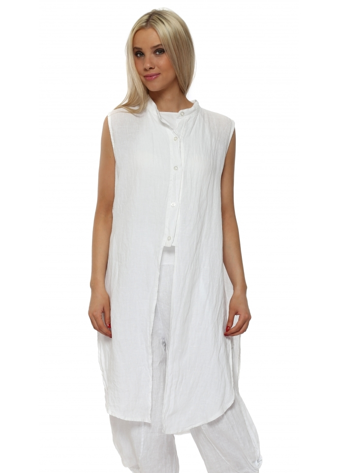 French Boutique White Linen Ladder Sleeveless Shirt