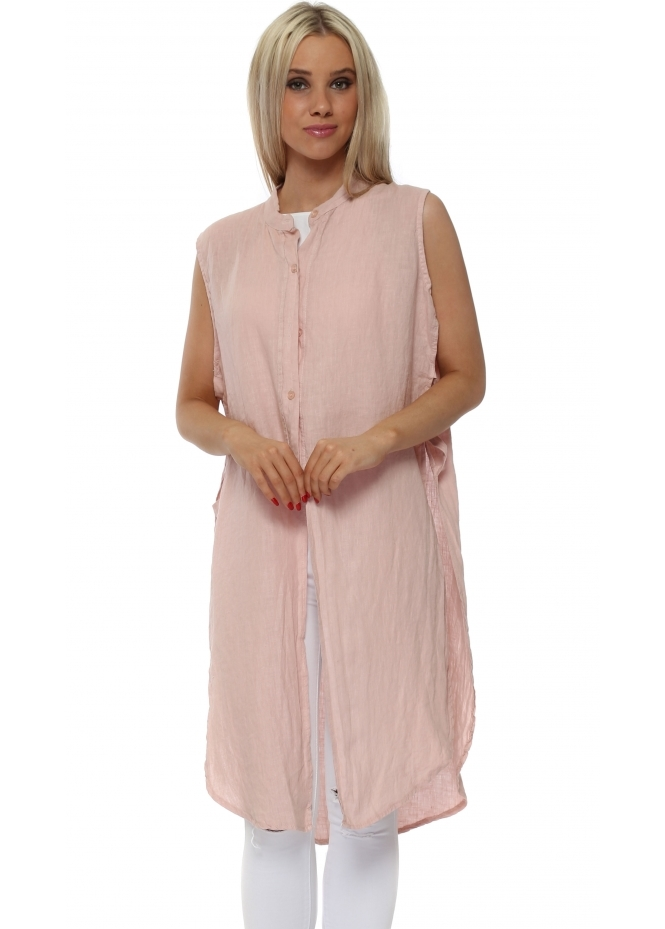 French Boutique Pink Linen Ladder Sleeveless Shirt