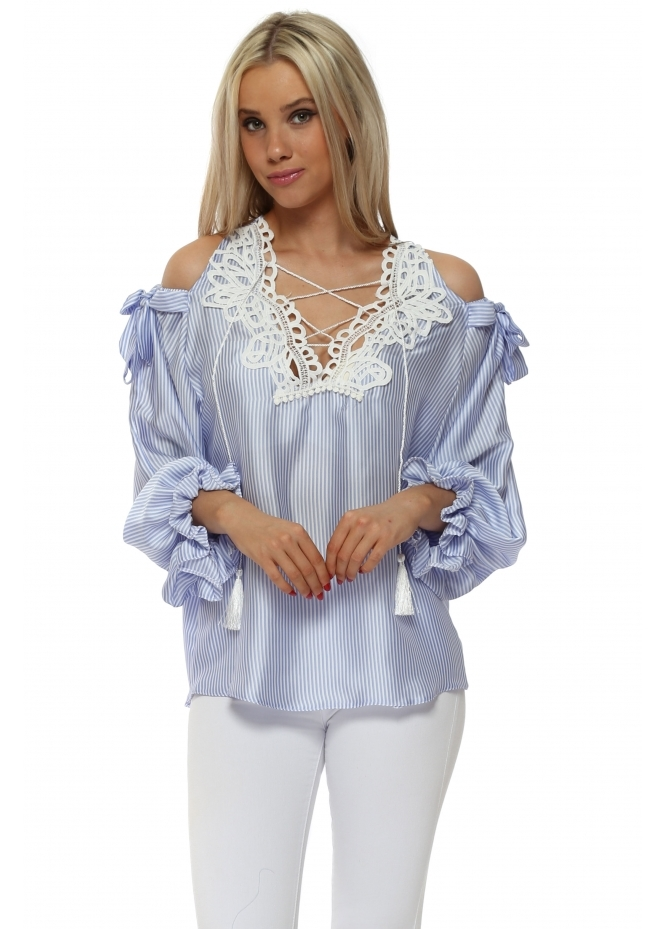 Briefly Blue Stripe Lace Tie Neck Cold Shoulder Top