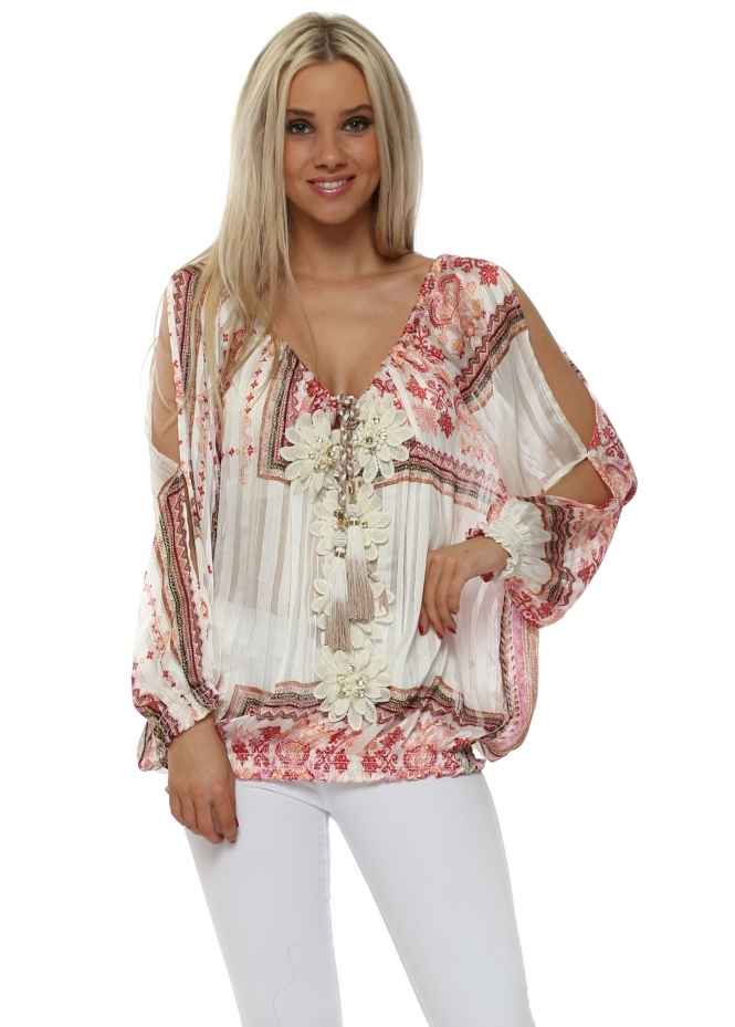 My Story Pink Tapestry Floral Diamante Top