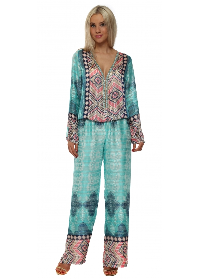 Just M Paris Turquoise Silky Sequinned Diams Jumpsuit