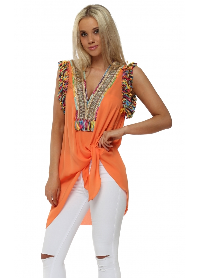 Briefly Braided Tassels Orange Sleeveless Tie Top