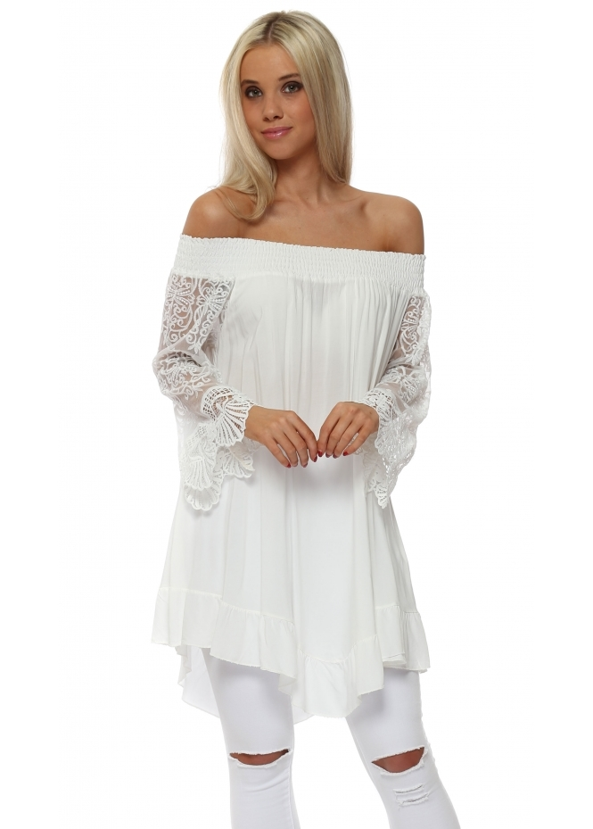 Made In Italy White Off The Shoulder Lace Sleeve Top