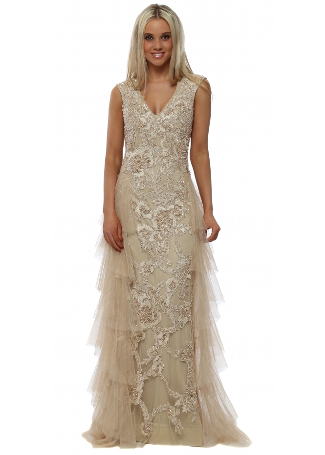 Starry Eyed Gold Fully Beaded Maxi Dress With Tulle Layers