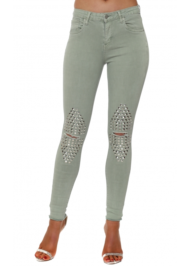 French Boutique Khaki Stretch Fit Ripped Studded Knee Jeans