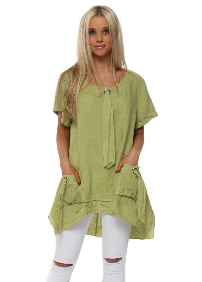 Italian Boutique Lime Linen Dip Hem Pockets Tunic