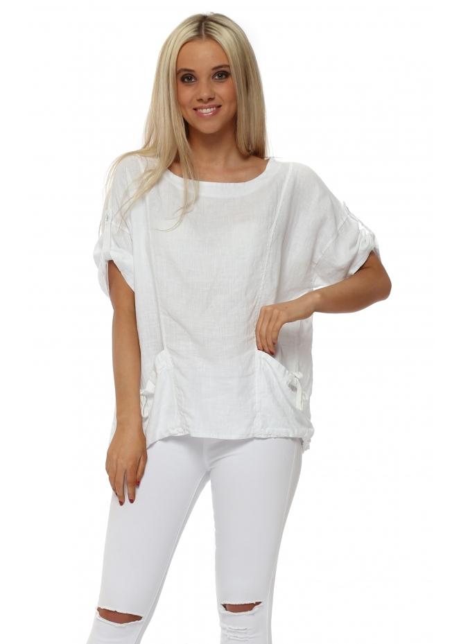 Italian Boutique White Linen Tie Pockets Top