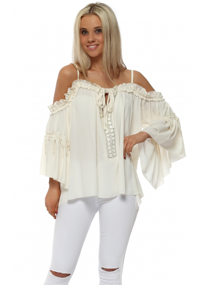 Laurie & Joe Cream Sequinned Tassel Cold Shoulder Top