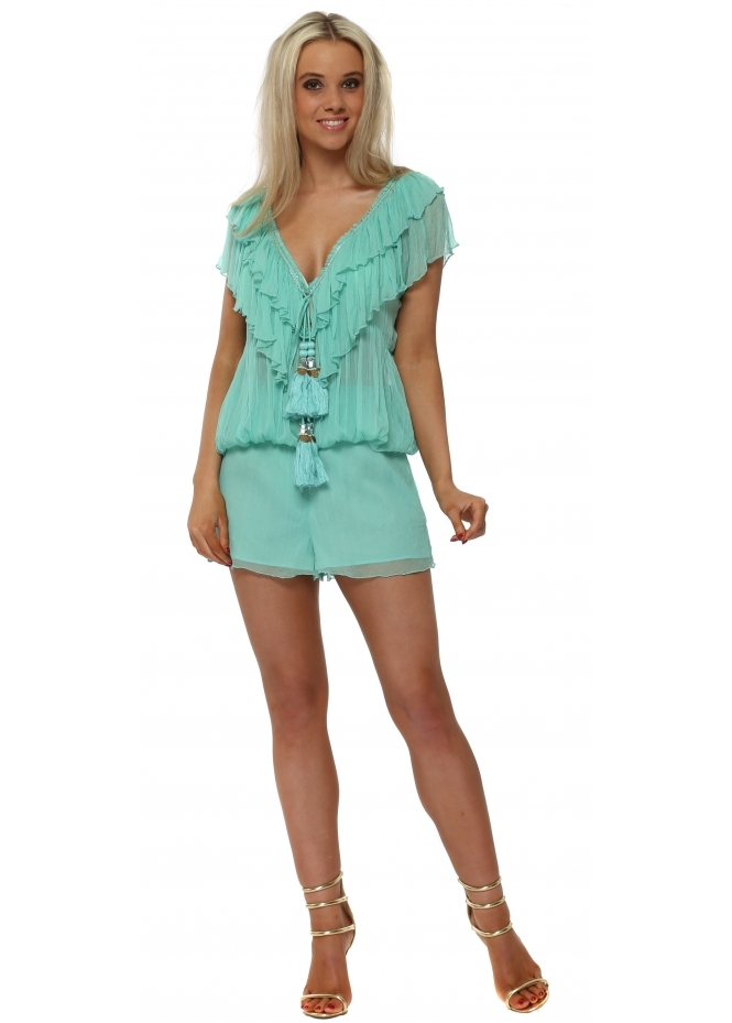 Laurie & Joe Aqua Ruffled Jewelled Playsuit