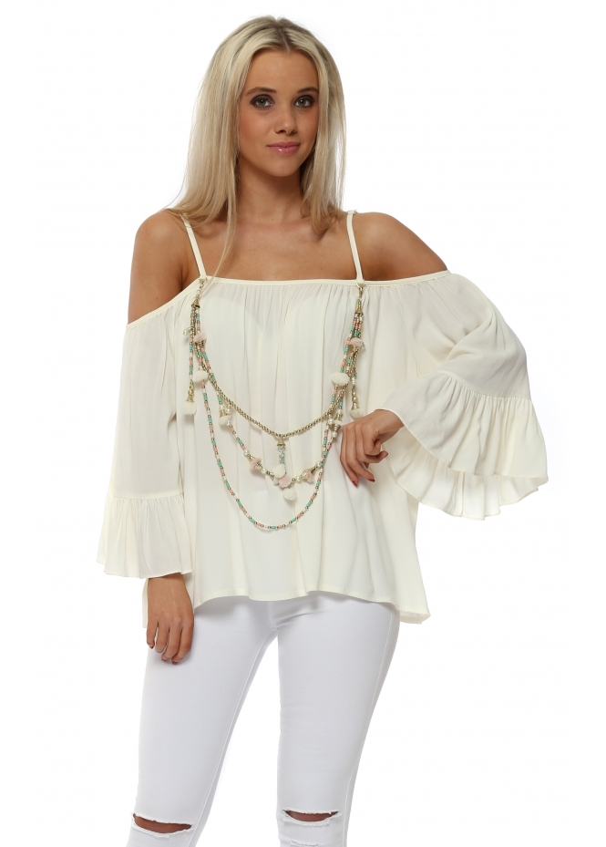 Vie Ta Vie Cream Frilly Cold Shoulder Top With Tassel Necklace