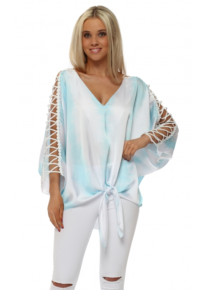 Briefly Aqua Satin Tie Dye Ladder Sleeve Top