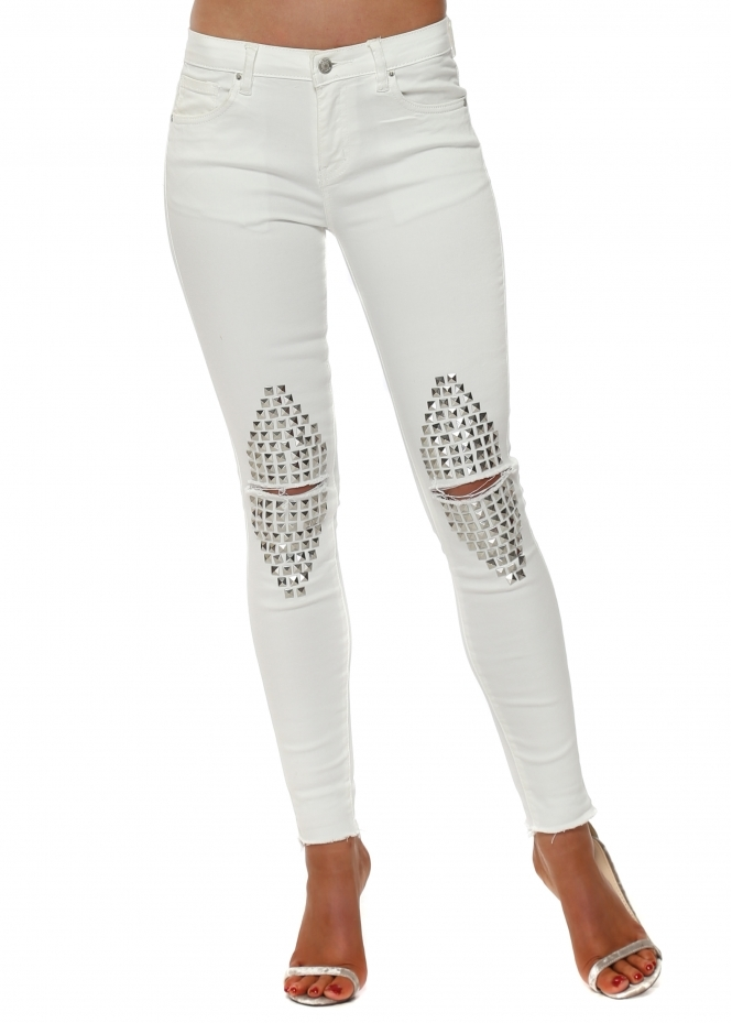 French Boutique White Stretch Fit Ripped Studded Knee Jeans