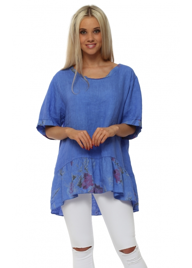 Made In Italy Cobalt Blue Floral Hem Linen Top