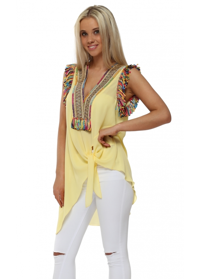 Briefly Braided Tassels Yellow Sleeveless Tie Top