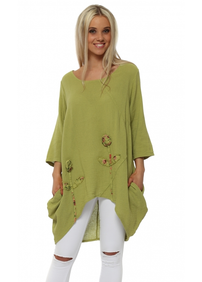 Italian Boutique Lime Rose Detail Dip Sides Tunic Top