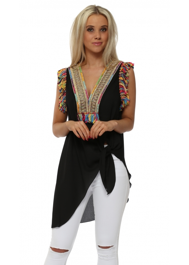 Briefly Braided Tassels Black Sleeveless Tie Top