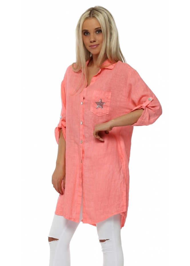 French Boutique Coral Sequinned Star Pocket Linen Shirt