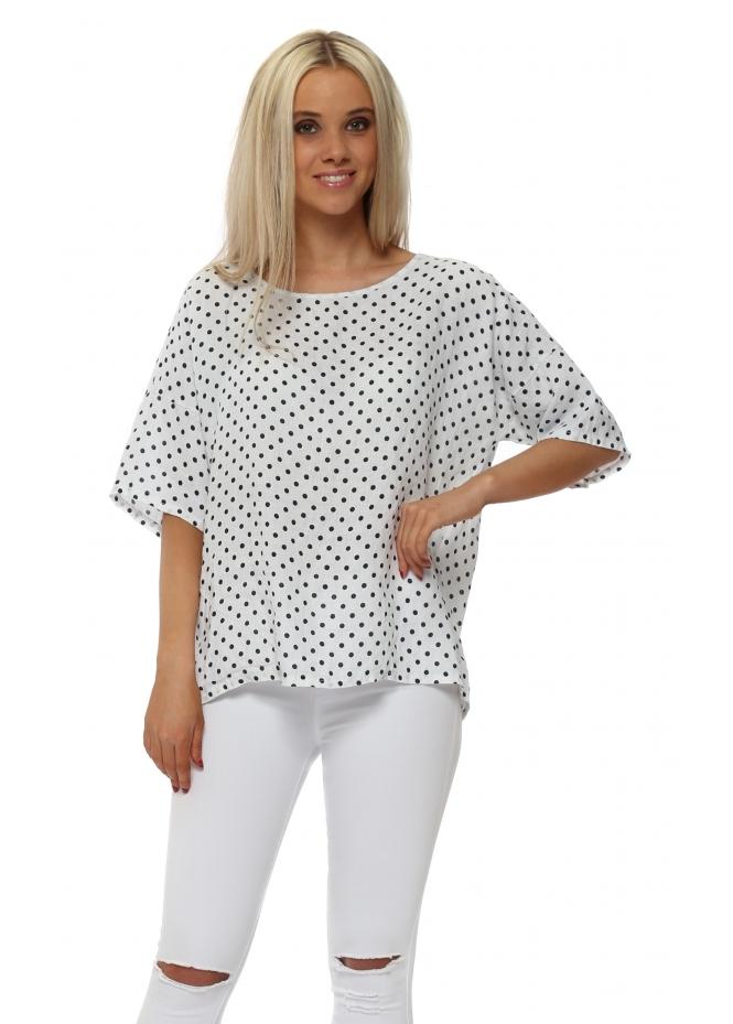C Valentyne White Linen Polka Dot Button Back Top