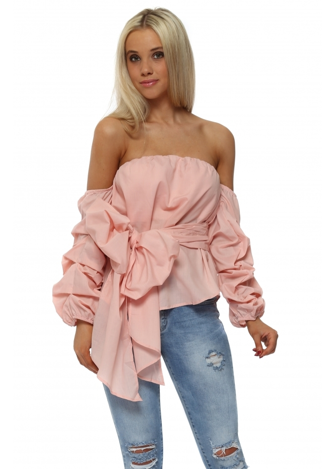 French Boutique Pink Ruffle Sleeve Bow Tie Blouse