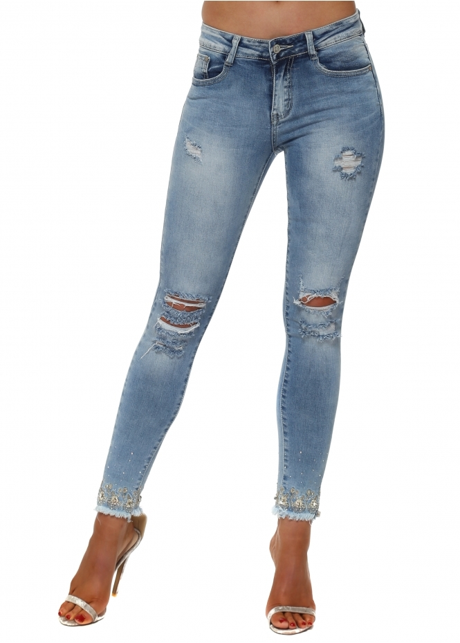 French Boutique Stretch Fit Ripped Jeans With Jewelled Ankles