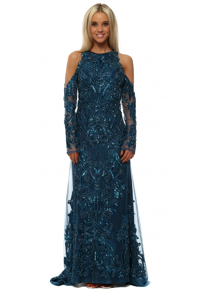 Starry Eyed Fully Sequinned Teal Cold Shoulder Maxi Dress