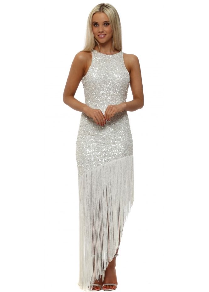 Starry Eyed White Sequinned Asymmetric Tassel Dress