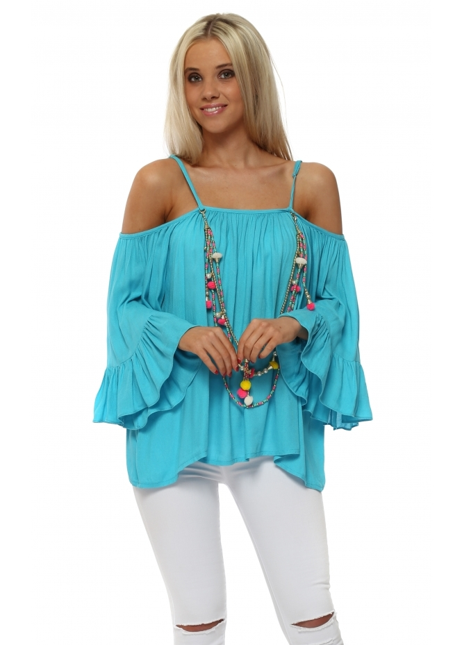 Vie Ta Vie Turquoise Frilly Cold Shoulder Top With Tassel Necklace