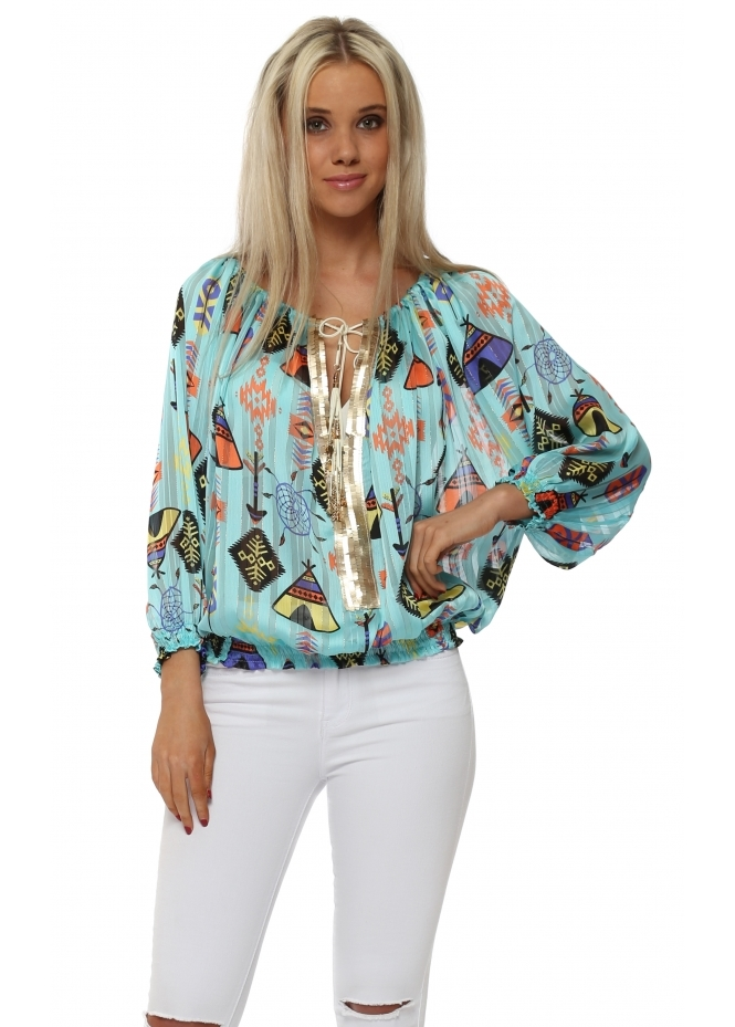 Laurie & Joe Turquoise Multi Inca Print Sequin Neckline Top