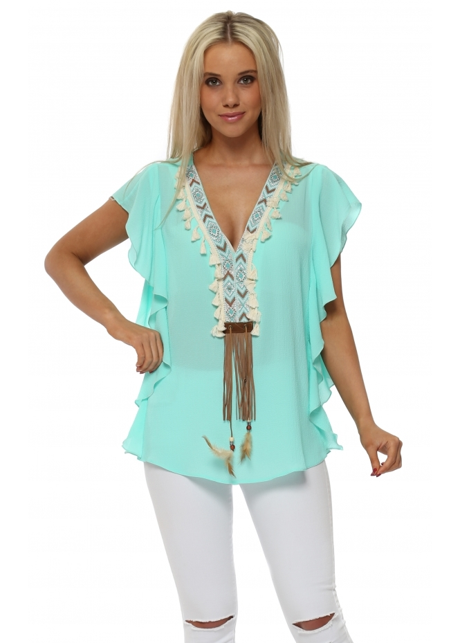 Briefly Aqua Frill Top With Aztec Crystals