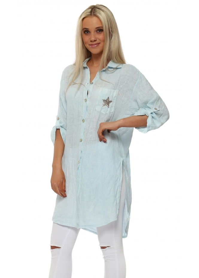 French Boutique Aqua Linen Shirt With Sequinned Star Pocket