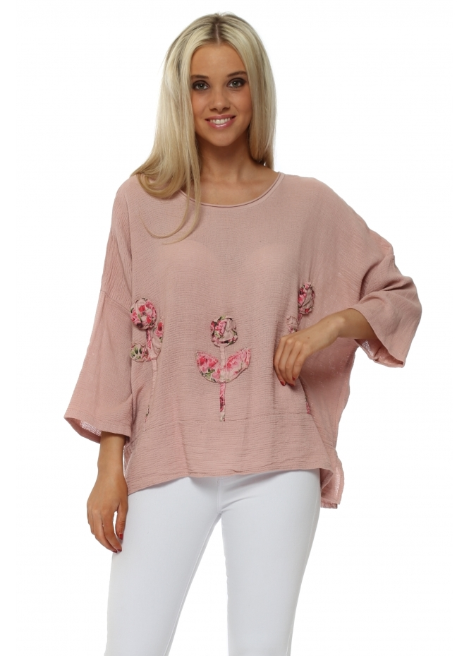 Italian Boutique Pink Linen Rose Embroidered Cropped Top