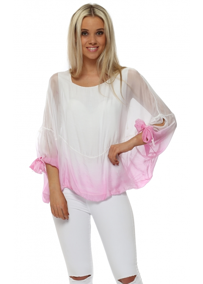 Italian Boutique Fucshia Dip Dye Tie Sleeve Silk Top