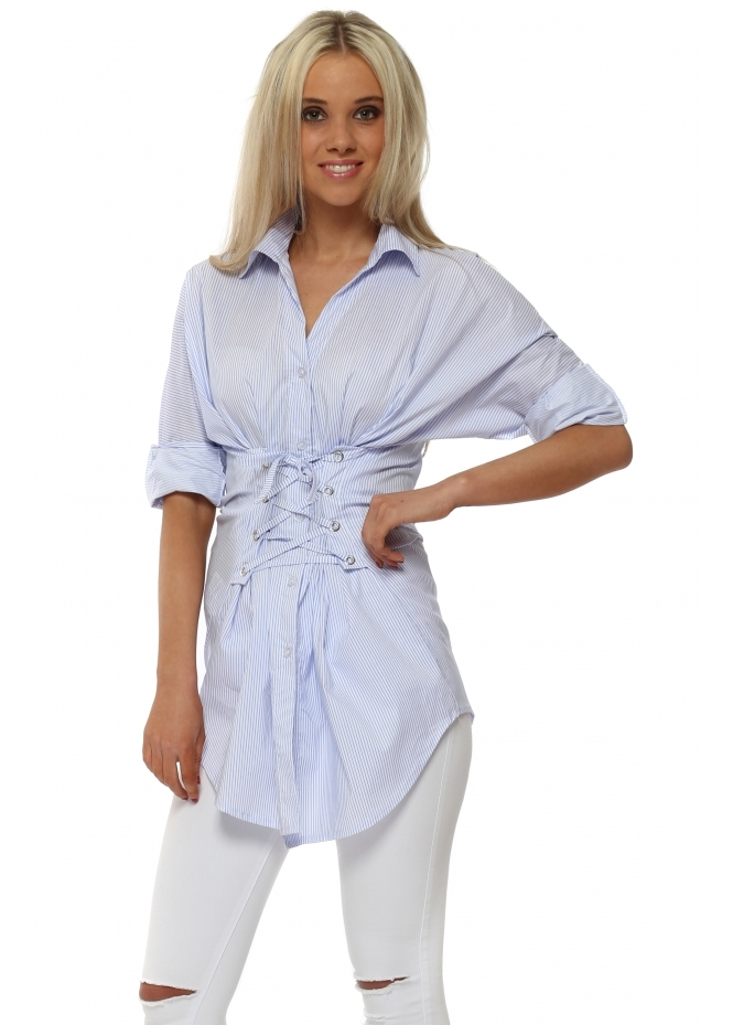 French Boutique Blue Pinstripe Corset Tie Shirt