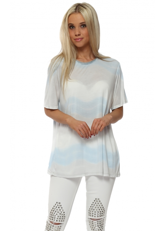 Italian Boutique Blue Tie Dye Oversized T-Shirt