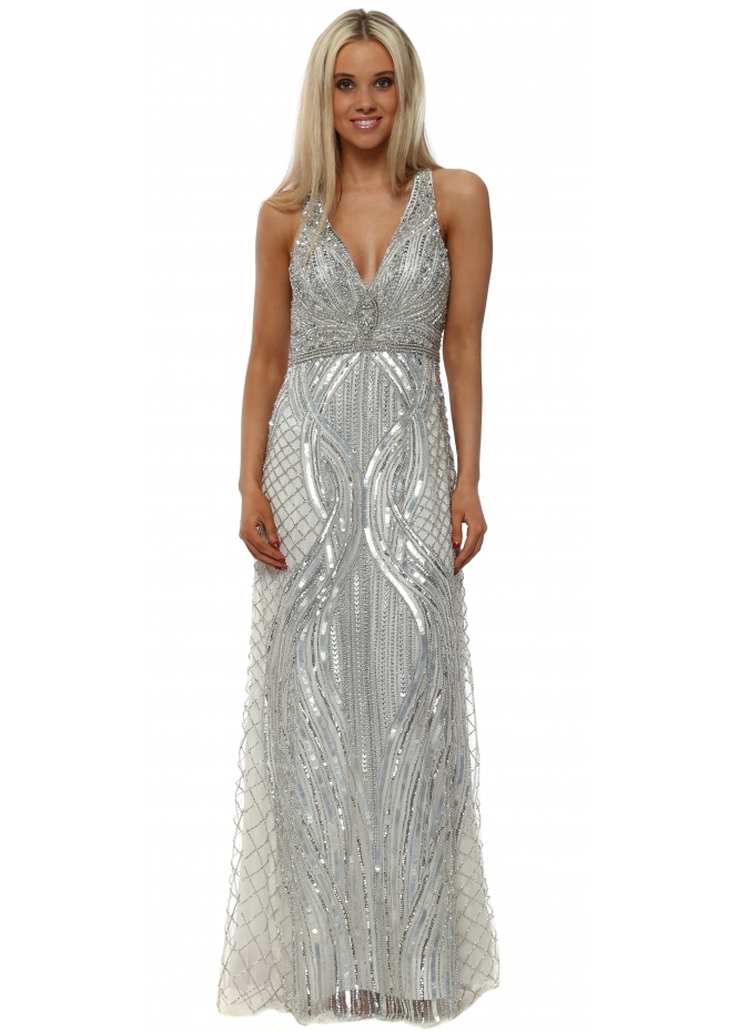 Starry Eyed Sparkling Silver Sequinned Maxi Dress