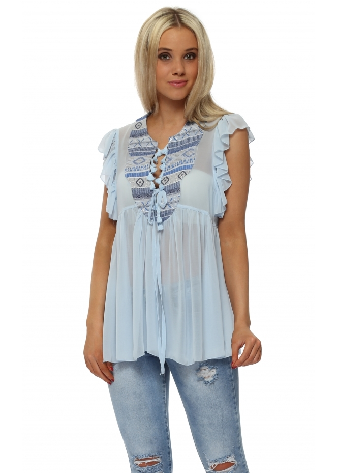 Aleph Blue Frilly Top With Aztec Braid Tie Neck