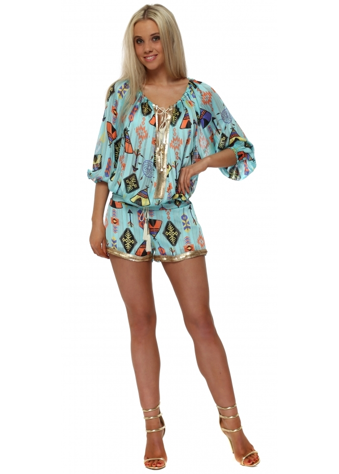 Laurie & Joe Turquoise Multi Inca Print Sequin Shorts & Top