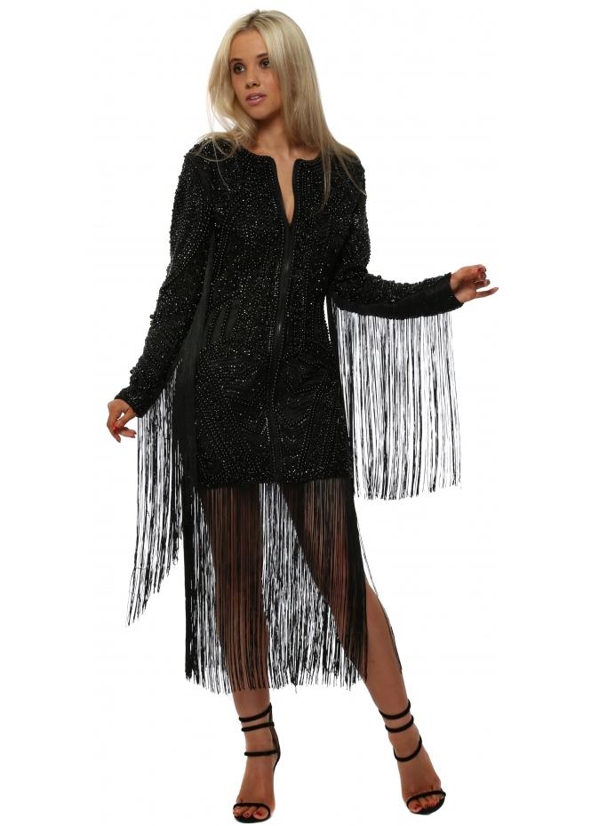 Starry Eyed Black Zip Front Beaded Tassel Dress