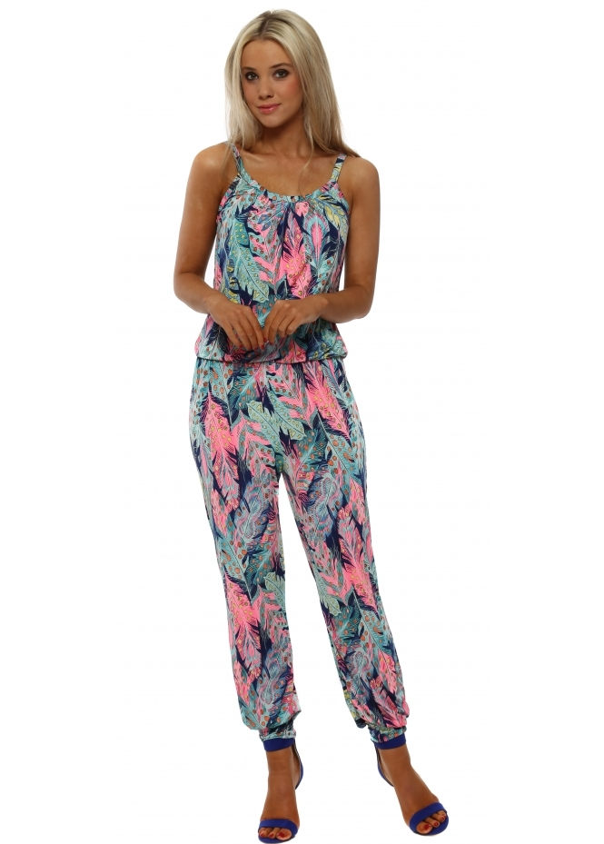 French Boutique Neon Pink Leaf Print Jumpsuit