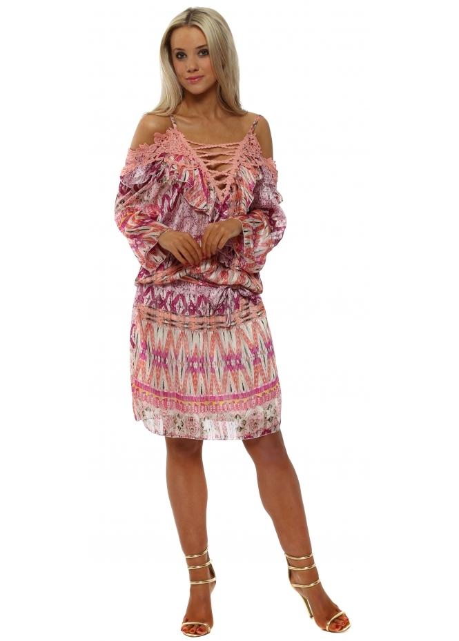 My Story Pink Printed Chiffon Cold Shoulder Dress