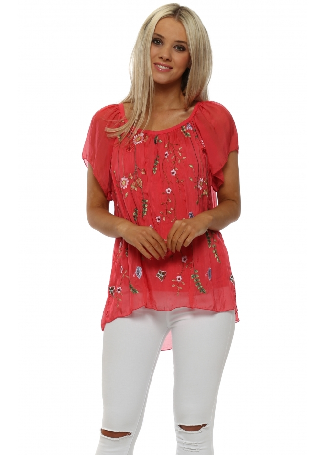 J&L Paris Coral Floral Embroidered Silk Top