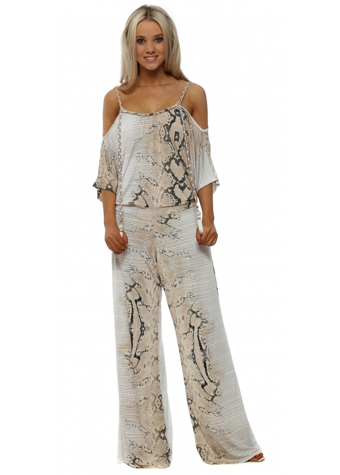 My Story Cream Snake Print Cold Shoulder Jumpsuit