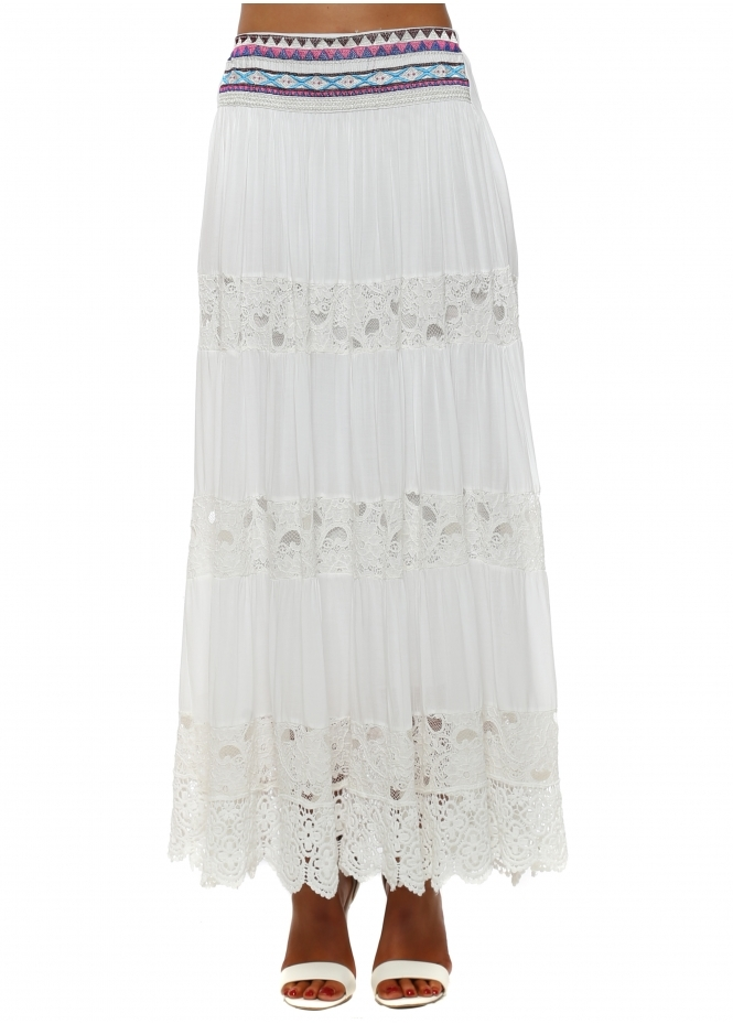Monton White Tiered Lace Embroidered Maxi Skirt