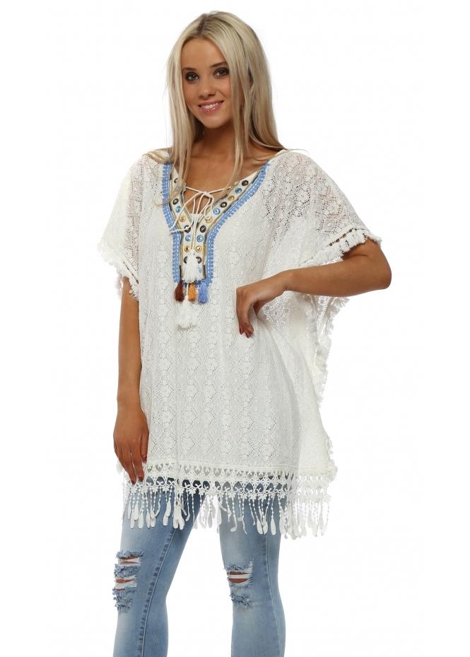 Monton Ivory Crochet Lace Tassle Kaftan Top