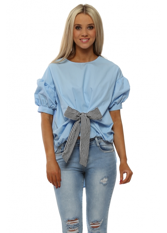 French Boutique Baby Blue Puffball Striped Bow Dip Hem Blouse